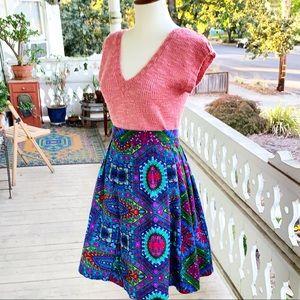 Vintage Psychedelic Bark Cloth Pleated Midi Skirt
